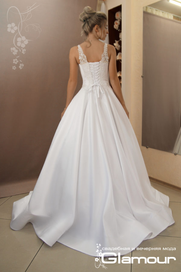 Favorite satin and lace bridesmaid dress