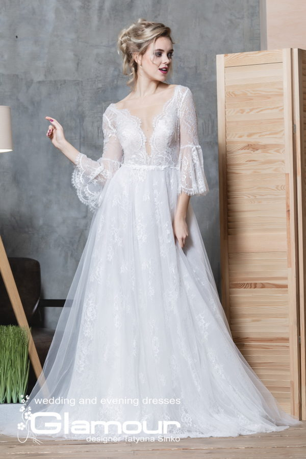 Amur Псд-108 lace wedding dress tulle SINKO