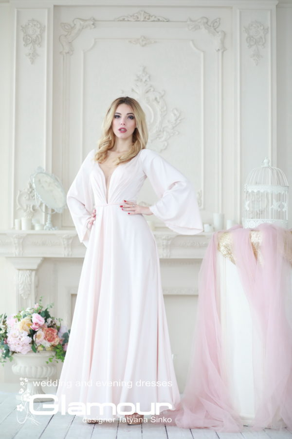 long sleeve wedding dresses TATYANA SINKO, silk dress, Boho wedding dress Sinko designer, wedding dresses with sleeves