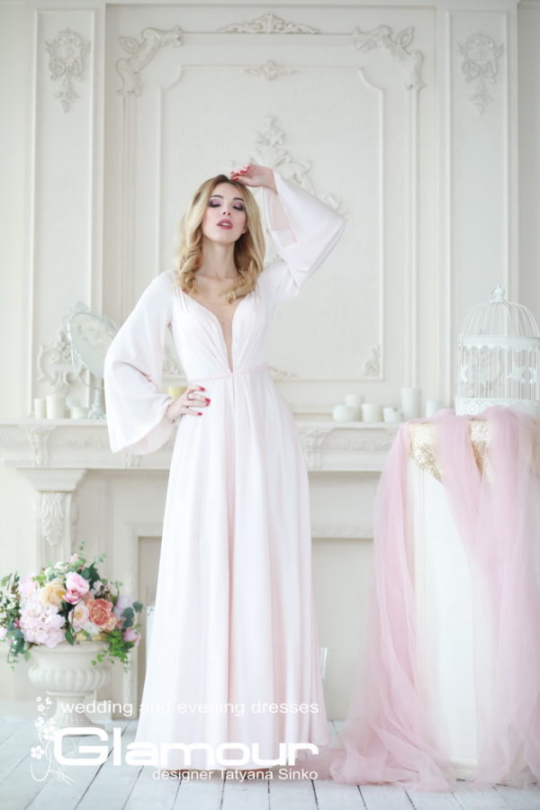 silk dress, Boho wedding dress Sinko designer, wedding dresses with sleeves