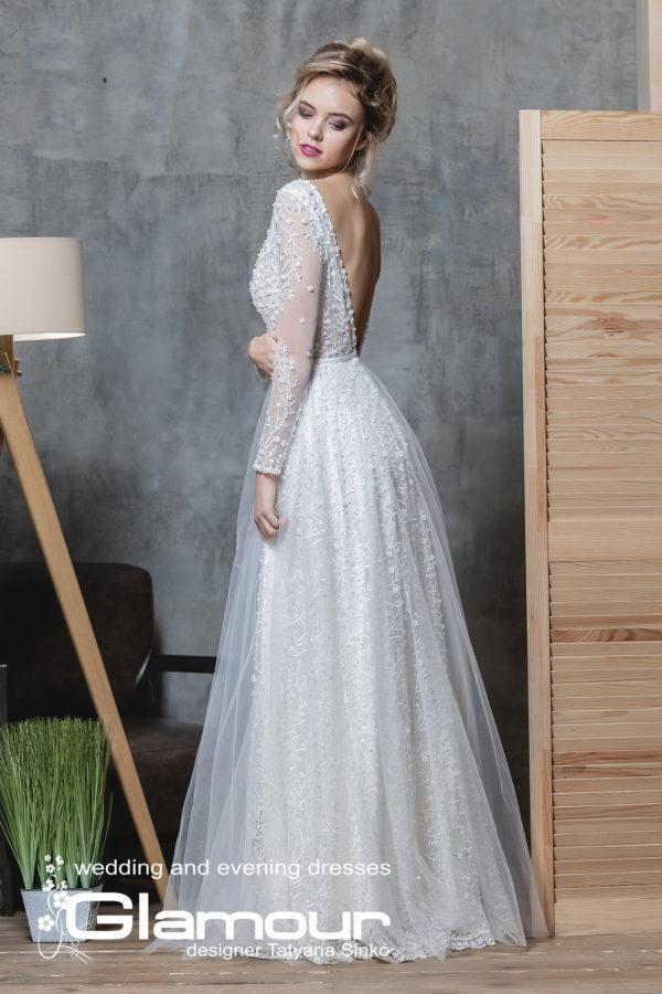 BOHEMIA ПСД-31 Long Sleeve V-Neck Tulle Wedding Dress