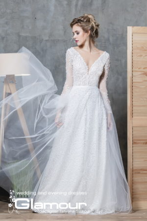 BOHEMIA ПСД-31 (7) Long Sleeve Tulle Wedding Dress