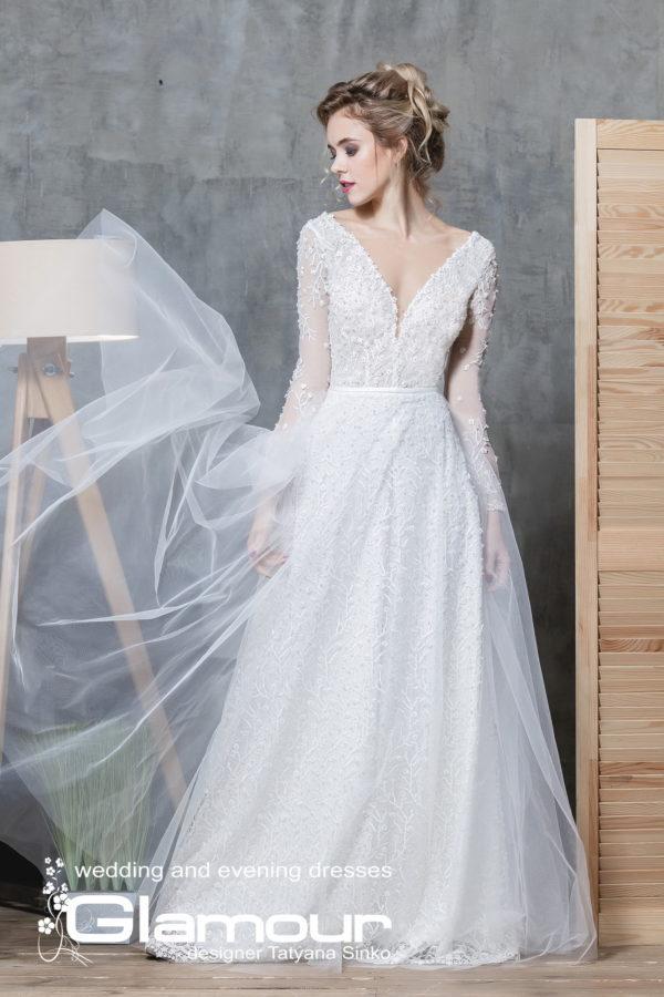 BOHEMIA ПСД-31 (7) Long Sleeve Tulle Wedding Dress