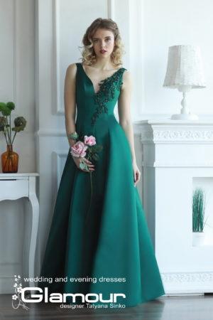вечернее платье А-силуэт, CLASSIC green evening dresses TATYANA SINKO, вечернее платье классика без рукавов SINKO, платье на выпускной, CLASSIC long evening dress TATYANA SINKO SV-GLAMOUR, CLASSIC A-line dress TATYANA SINKO SV-GLAMOUR