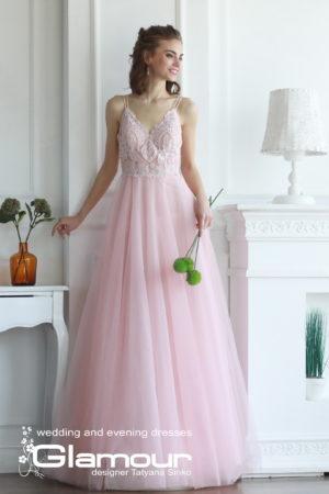 свадебное платье с евросеткой, свадебное вечернее платье с открытой спиной, свадебное вечернее платье с кружевом и евросеткой, Camellia tulle wedding dress SINKO DESIGNER, Camellia wedding dresses lace bodice TATYANA SINKO