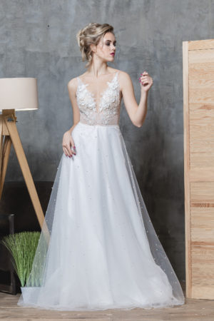 свадебное платье без рукавов, sleeveless wedding dress, ROMANCE bridesmaid dress TATYANA SINKO SV-GLAMOUR, свадебное платье с евро сеткой, ROMANCE summer wedding dress TATYANA SINKO